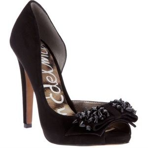 Sam Edelman Suede Peep Toe Heels with Studded Bow